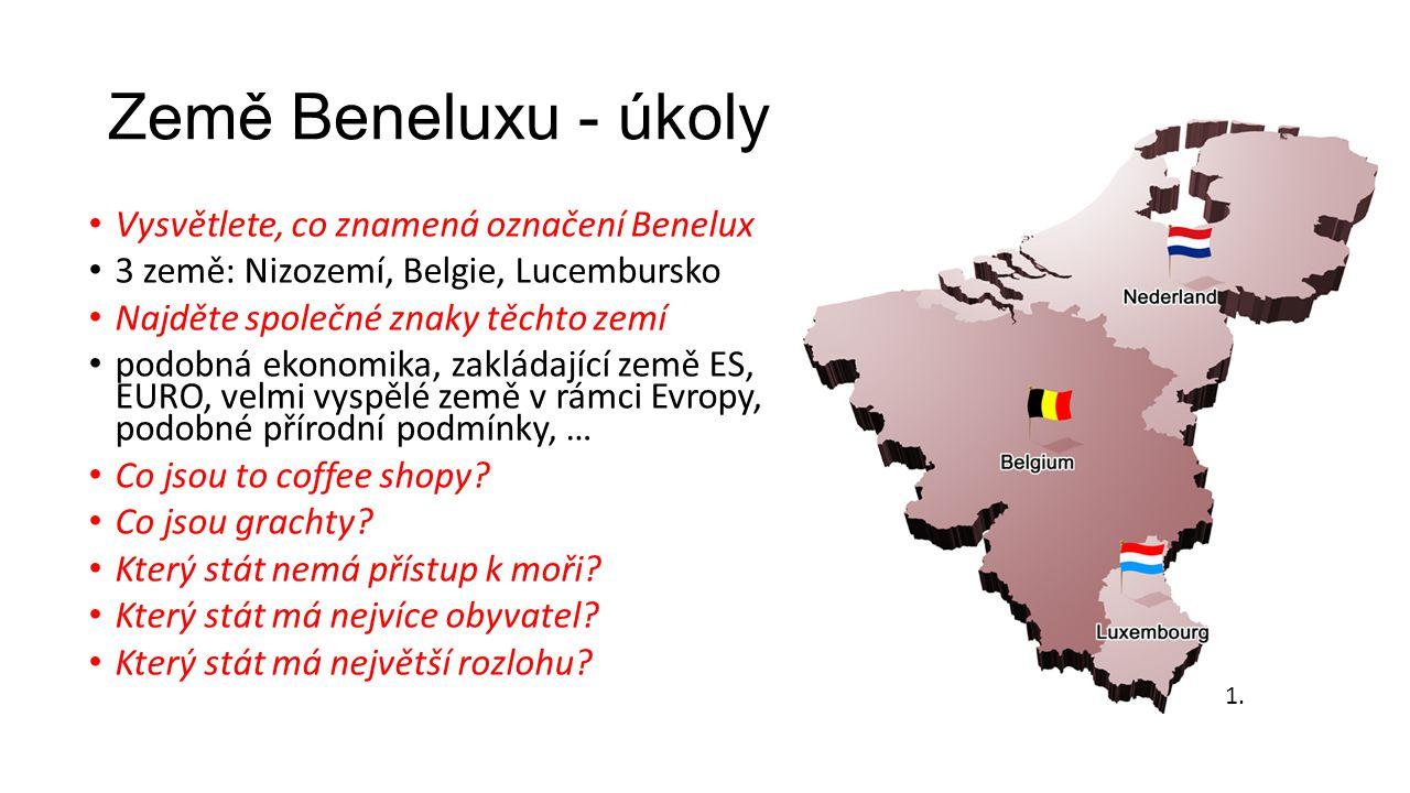 Země Beneluxu - úkoly Vysvětlete, co znamená označení Benelux