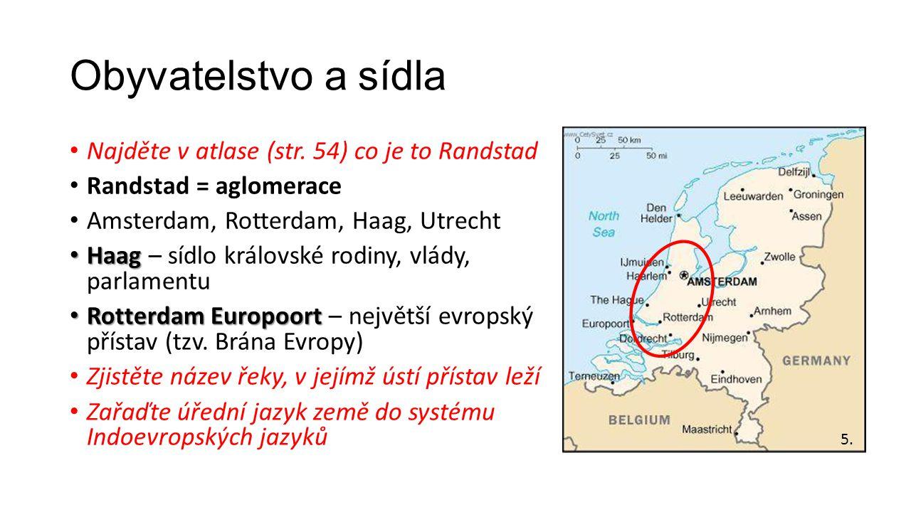 Obyvatelstvo a sídla Najděte v atlase (str. 54) co je to Randstad