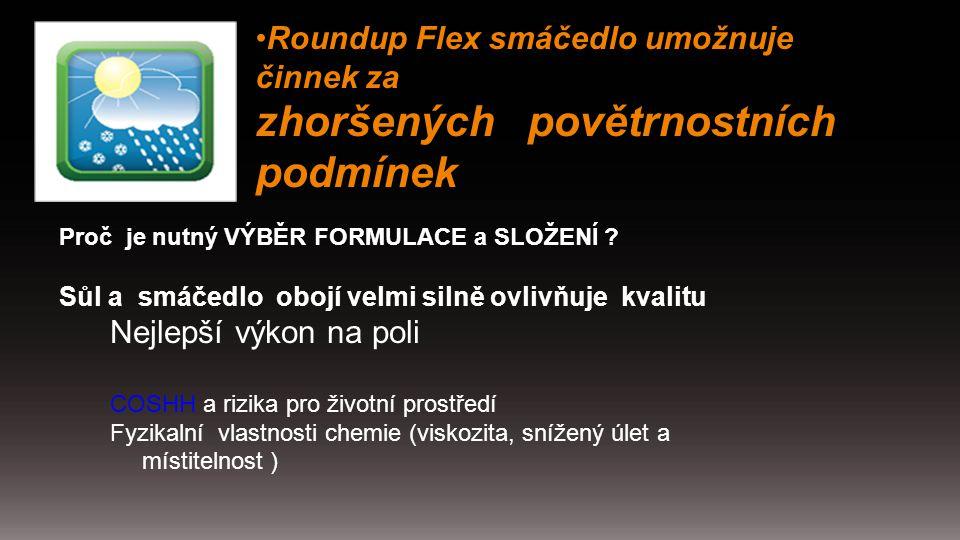Roundup Flex smáčedlo umožnuje činnek za zhoršených povětrnostních podmínek