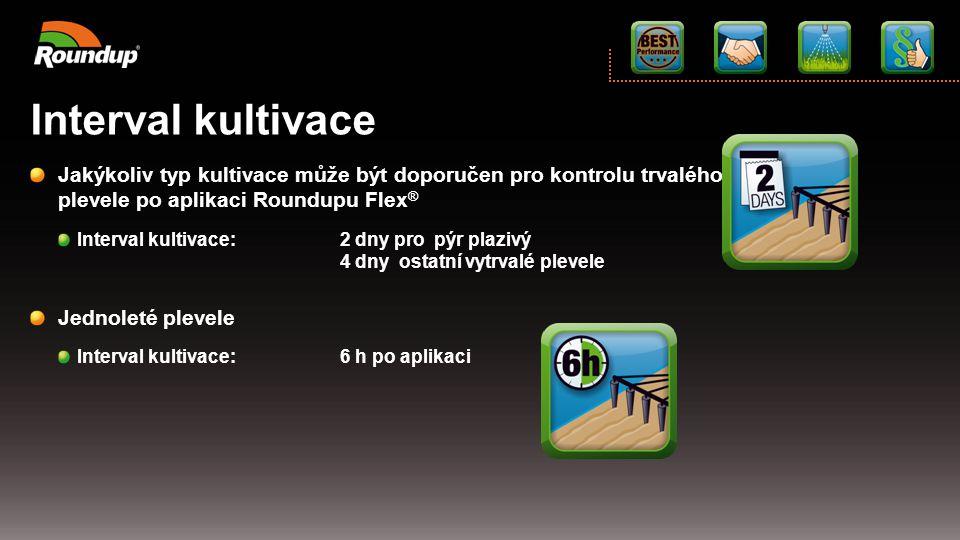 Interval kultivace Jakýkoliv typ kultivace může být doporučen pro kontrolu trvalého plevele po aplikaci Roundupu Flex®