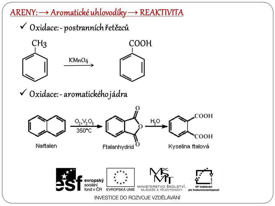 ARENY: → Aromatické uhlovodíky → reaktivita