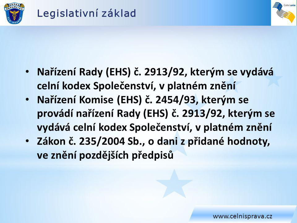 Legislativní základ www.celnisprava.cz. Nařízení Rady (EHS) č. 2913/92, kterým se vydává celní kodex Společenství, v platném znění.