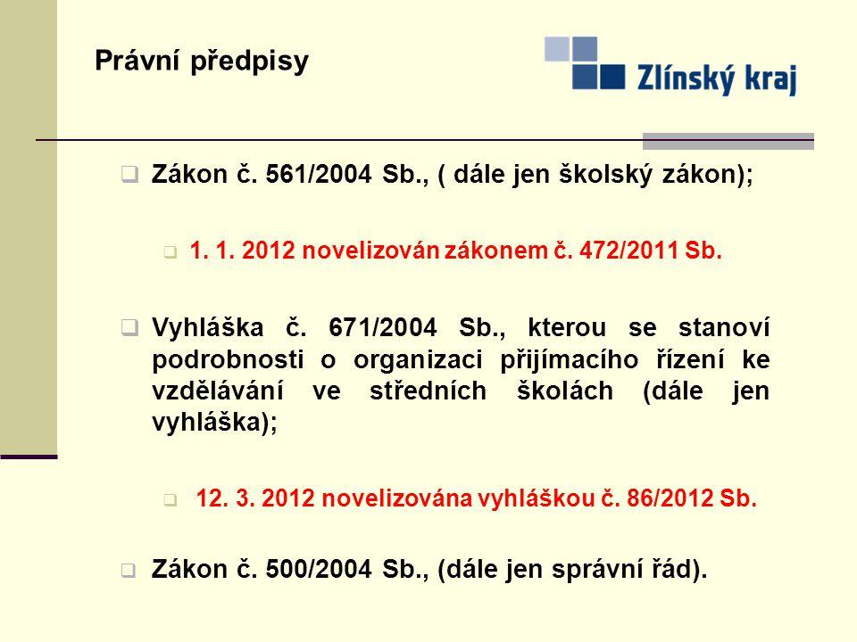 Právní předpisy Zákon č. 561/2004 Sb., ( dále jen školský zákon);