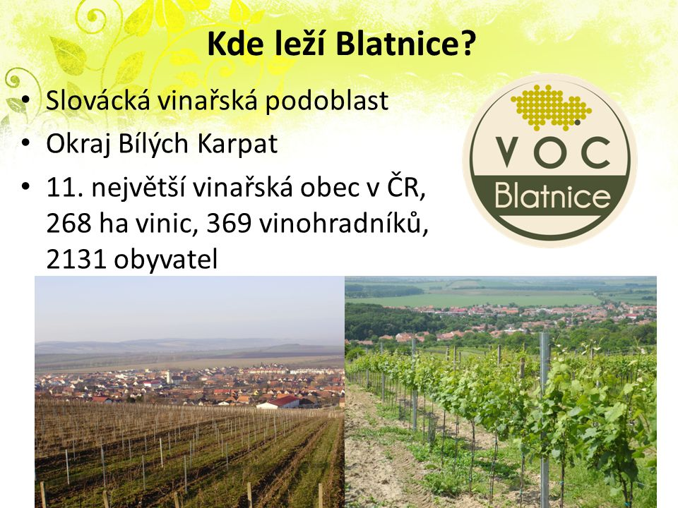 Kde leží Blatnice Slovácká vinařská podoblast Okraj Bílých Karpat
