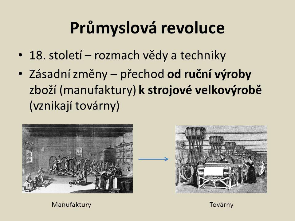 Průmyslová revoluce 18. století – rozmach vědy a techniky