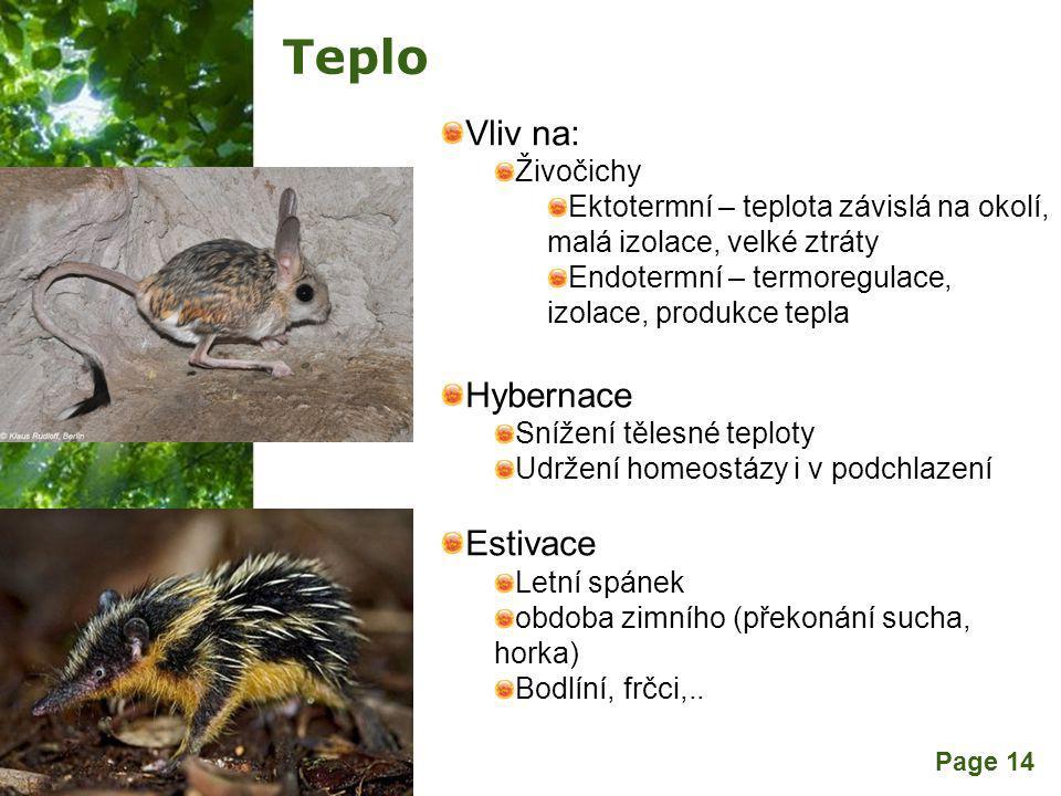 Teplo Vliv na: Hybernace Estivace Živočichy