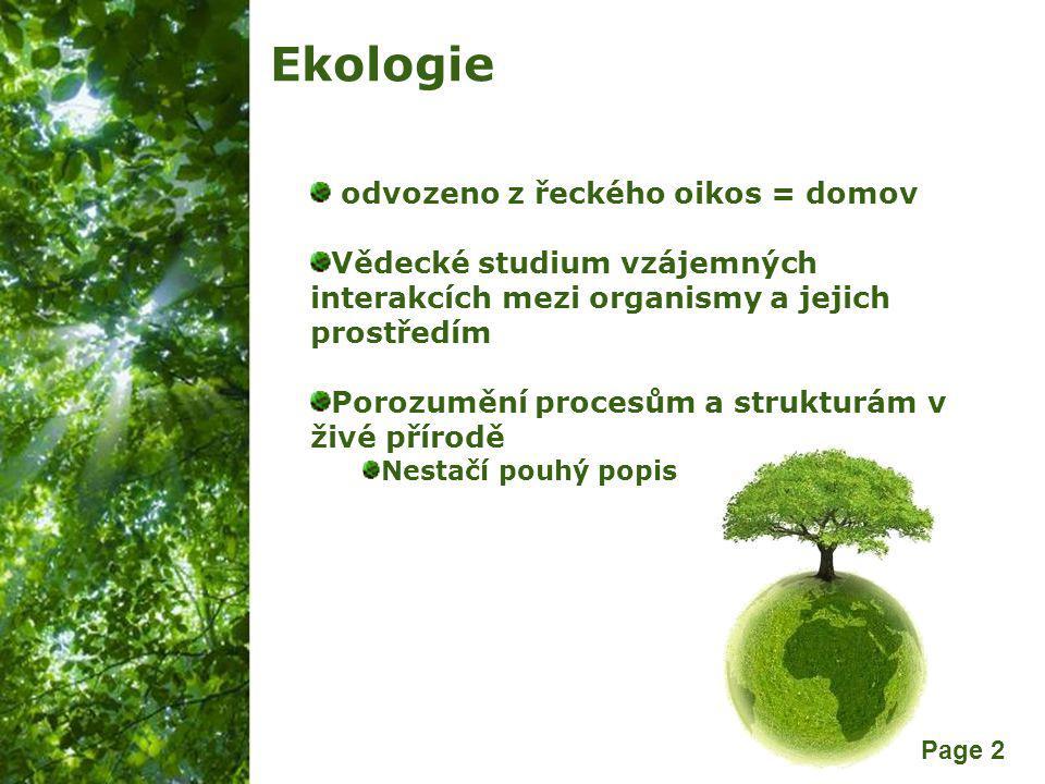 Ekologie odvozeno z řeckého oikos = domov