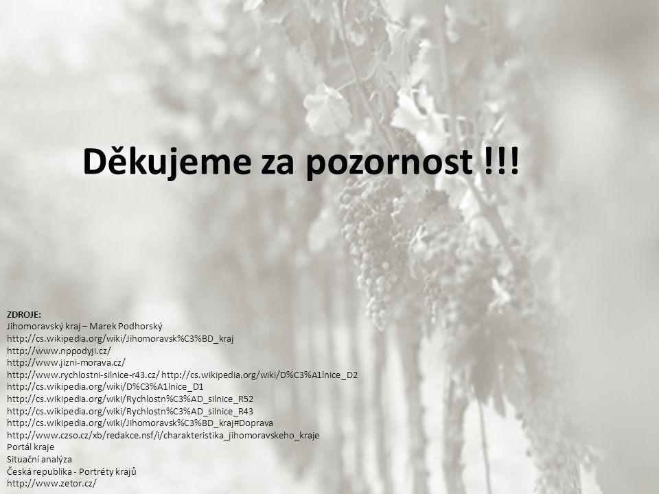 Děkujeme za pozornost !!! ZDROJE: Jihomoravský kraj – Marek Podhorský