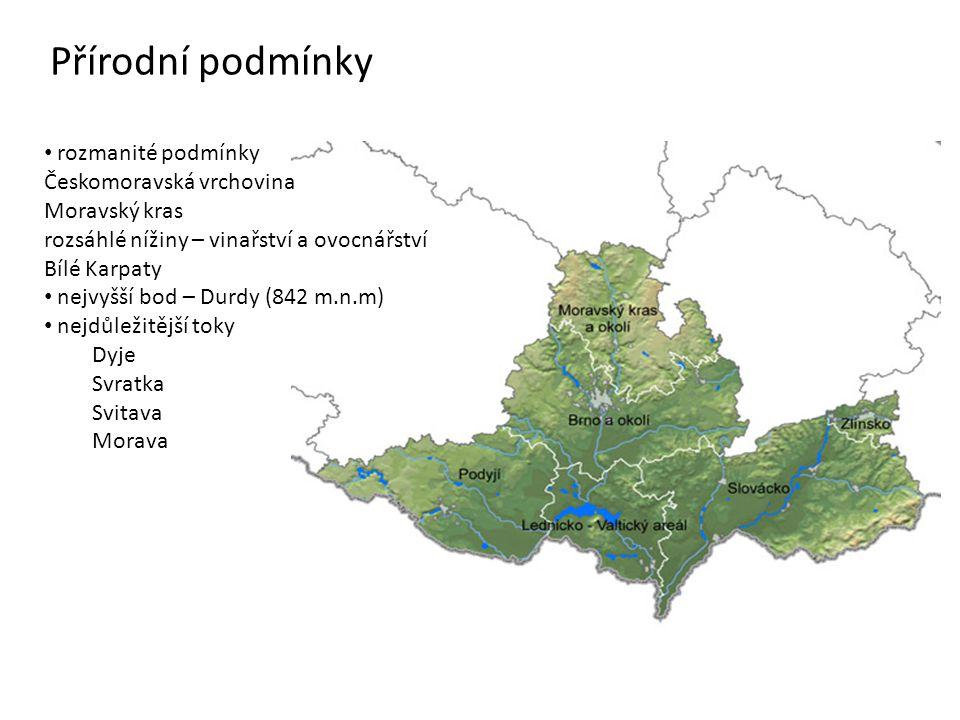 Přírodní podmínky rozmanité podmínky Českomoravská vrchovina