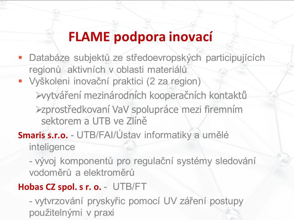 FLAME podpora inovací Databáze subjektů ze středoevropských participujících regionů aktivních v oblasti materiálů.