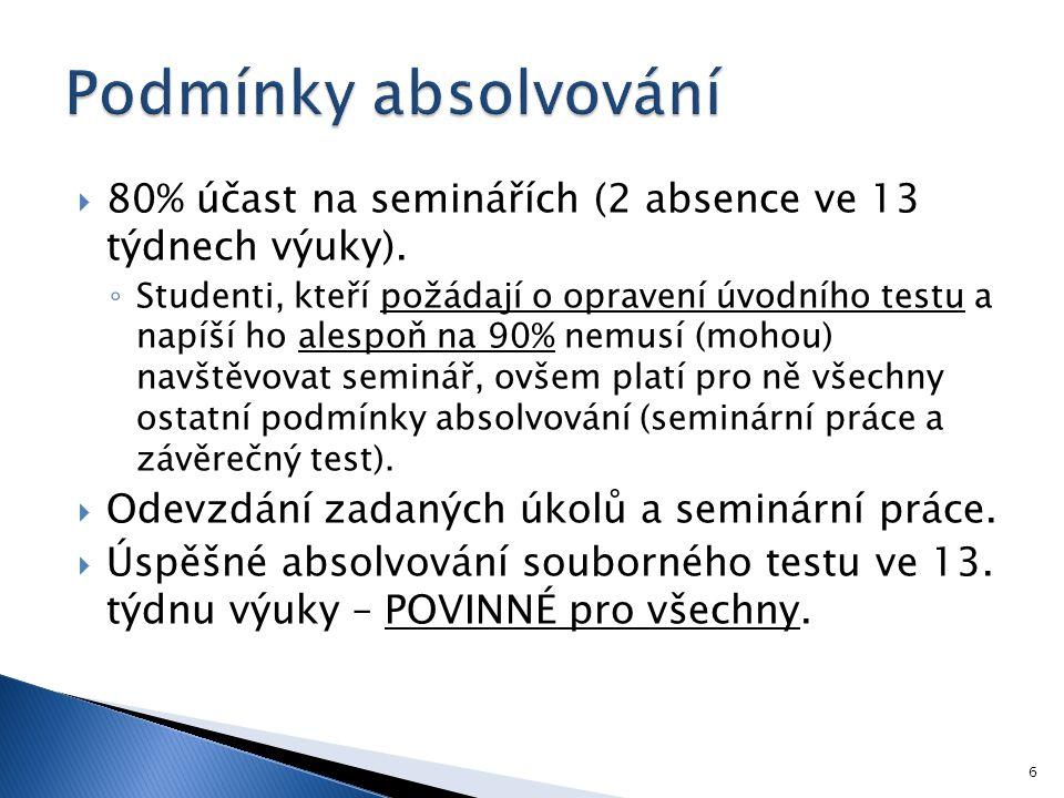 Podmínky absolvování 80% účast na seminářích (2 absence ve 13 týdnech výuky).