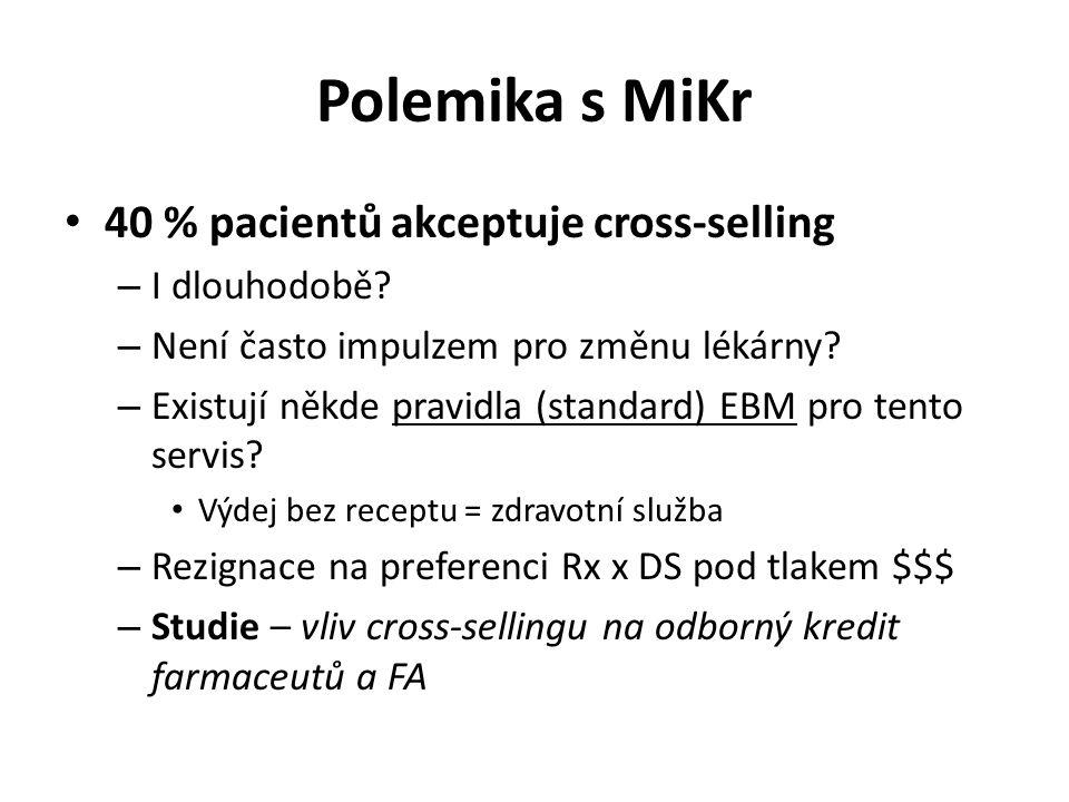 Polemika s MiKr 40 % pacientů akceptuje cross-selling I dlouhodobě