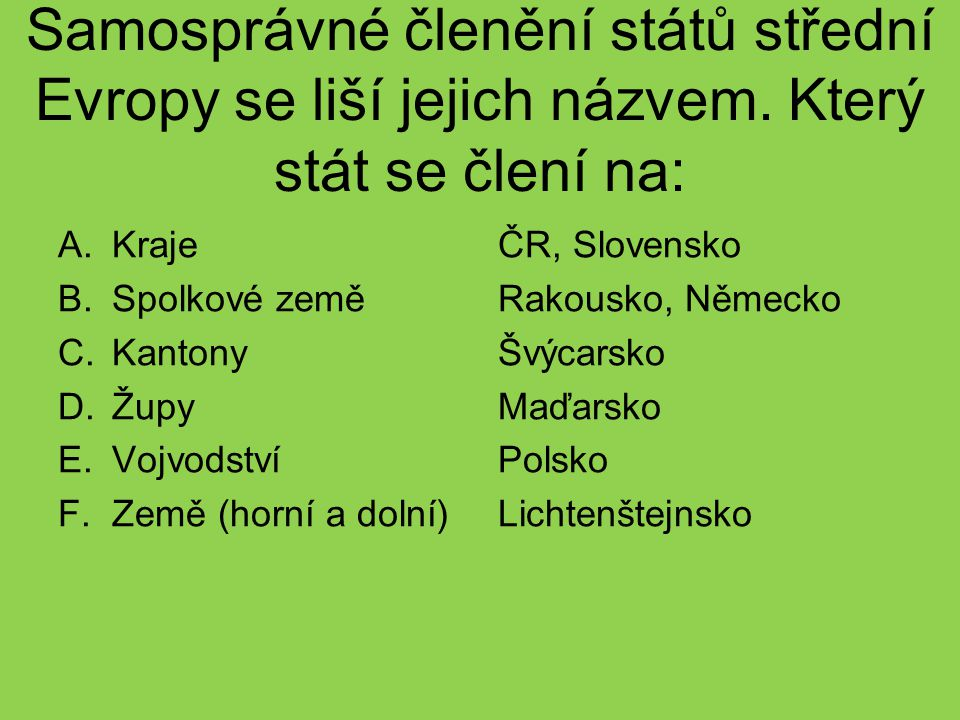 Samosprávné členění států střední Evropy se liší jejich názvem