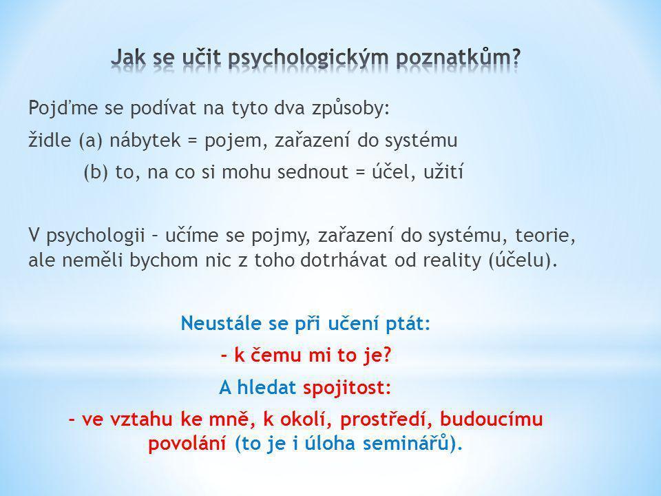 Jak se učit psychologickým poznatkům