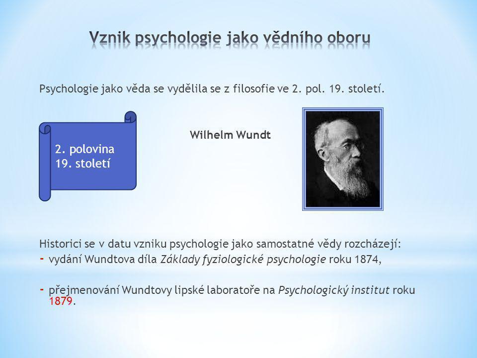 Vznik psychologie jako vědního oboru
