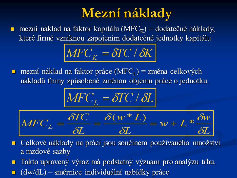 Mezní náklady mezní náklad na faktor kapitálu (MFCK) = dodatečné náklady, které firmě vzniknou zapojením dodatečné jednotky kapitálu.
