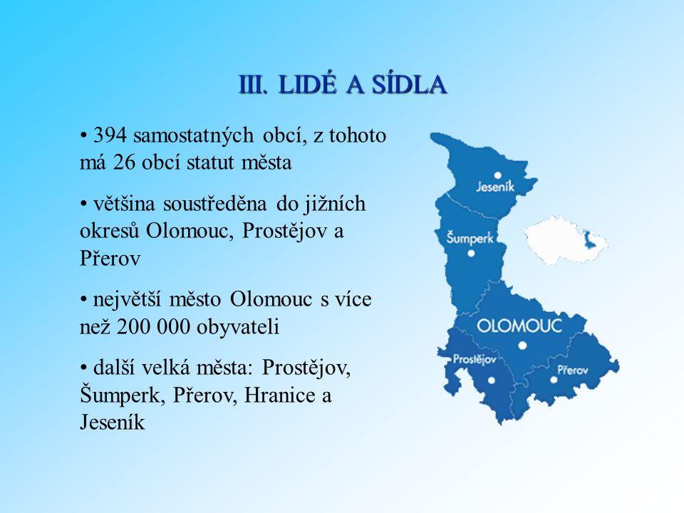 III. LIDÉ A SÍDLA 394 samostatných obcí, z tohoto má 26 obcí statut města. většina soustředěna do jižních okresů Olomouc, Prostějov a Přerov.