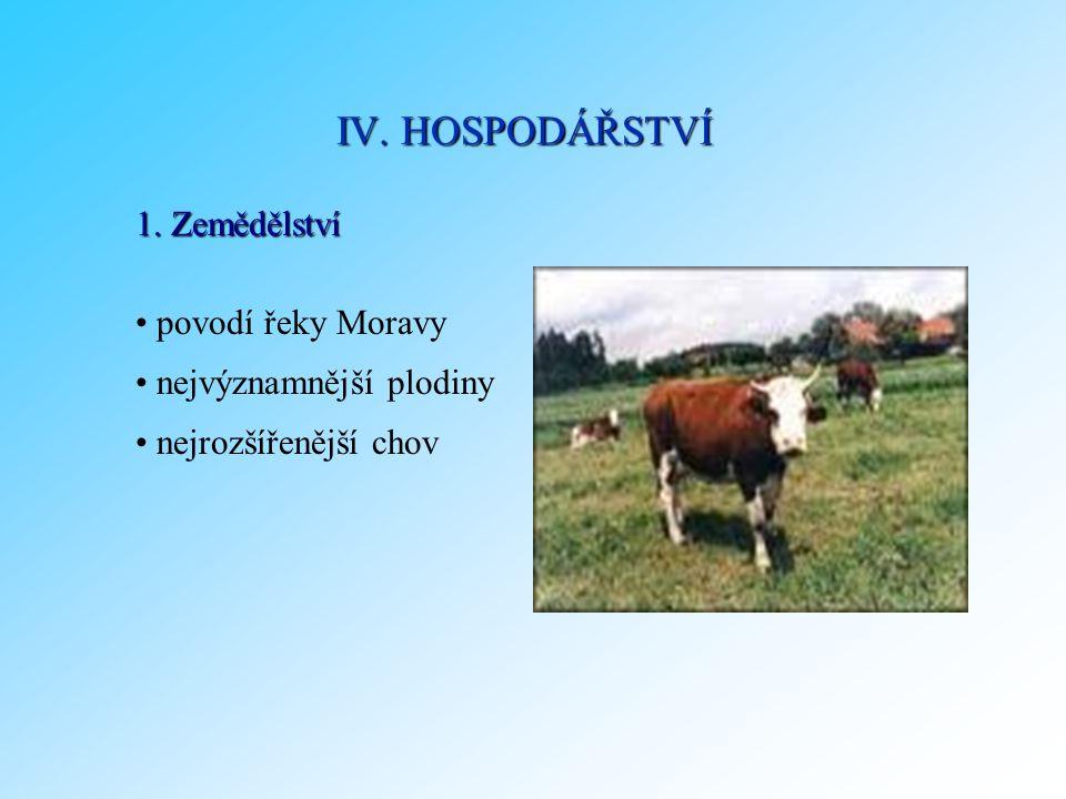 IV. HOSPODÁŘSTVÍ 1. Zemědělství povodí řeky Moravy
