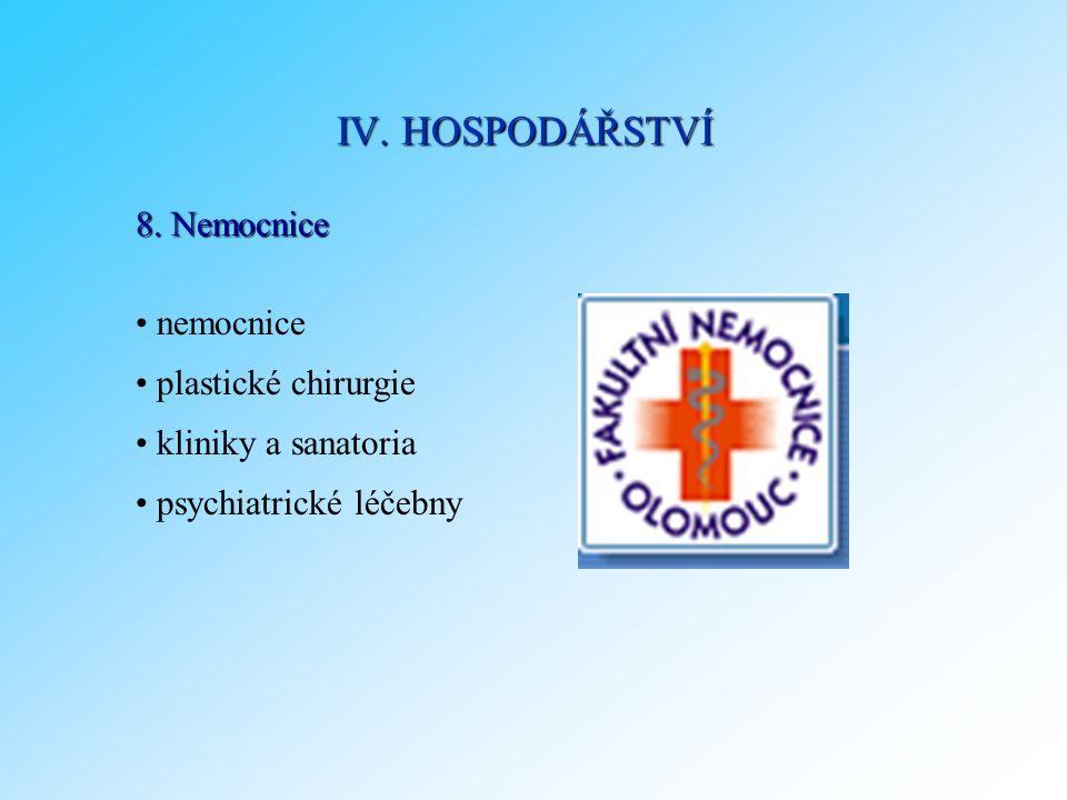 IV. HOSPODÁŘSTVÍ 8. Nemocnice nemocnice plastické chirurgie
