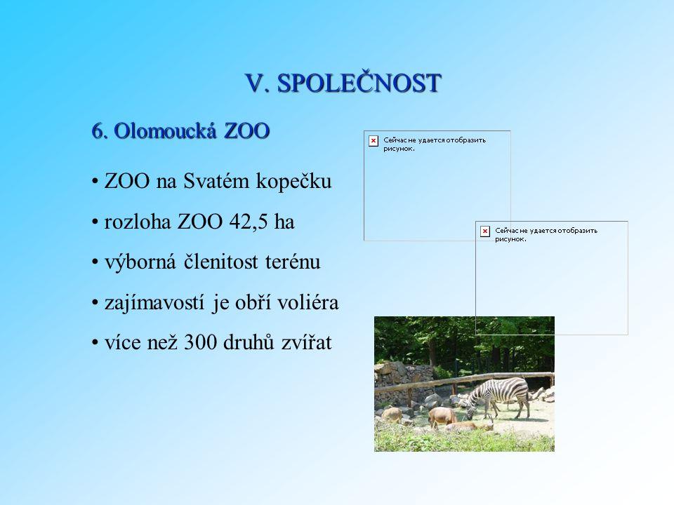 V. SPOLEČNOST 6. Olomoucká ZOO ZOO na Svatém kopečku