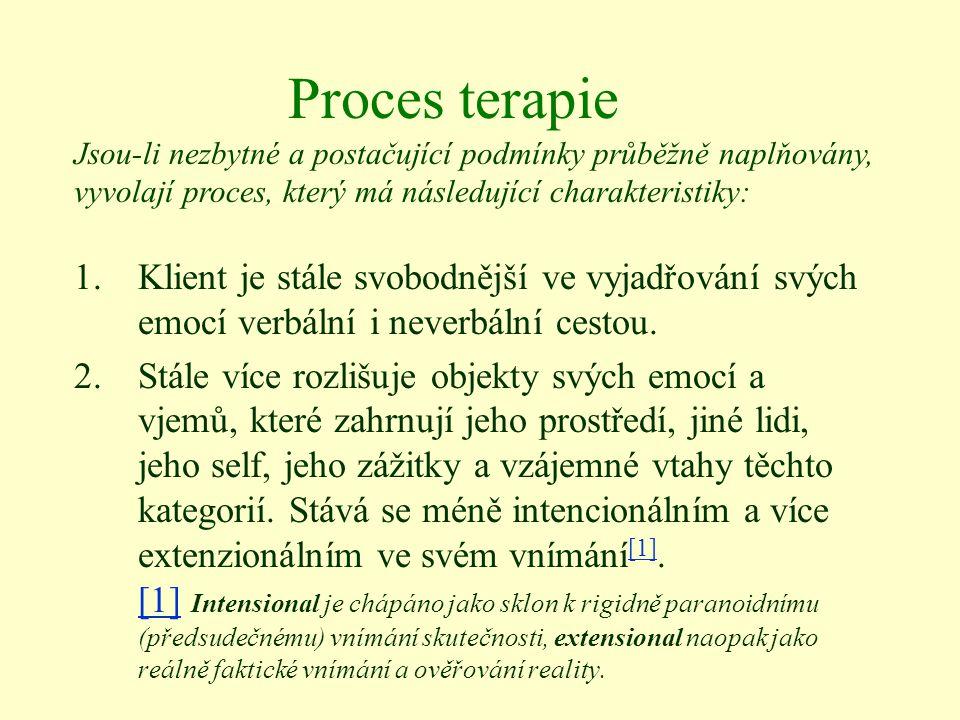 Proces terapie Jsou-li nezbytné a postačující podmínky průběžně naplňovány, vyvolají proces, který má následující charakteristiky: