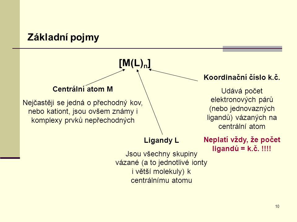 Neplatí vždy, že počet ligandů = k.č. !!!!