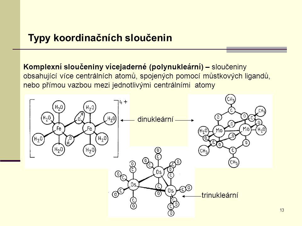 Typy koordinačních sloučenin