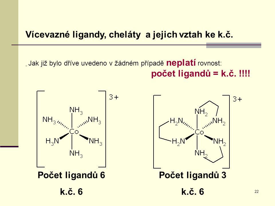 Počet ligandů 6 k.č. 6 Počet ligandů 3 k.č. 6