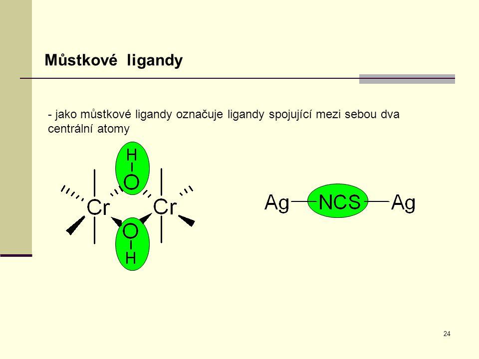 Můstkové ligandy - jako můstkové ligandy označuje ligandy spojující mezi sebou dva centrální atomy