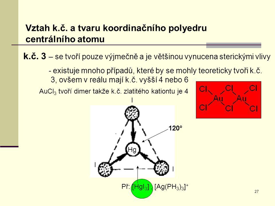 AuCl3 tvoří dimer takže k.č. zlatitého kationtu je 4