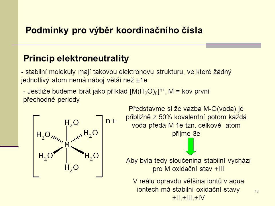 Aby byla tedy sloučenina stabilní vychází pro M oxidační stav +III