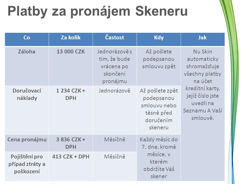 Platby za pronájem Skeneru