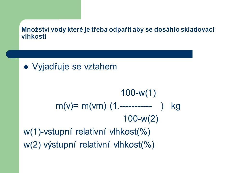 m(v)= m(vm) (1.----------- ) kg 100-w(2)