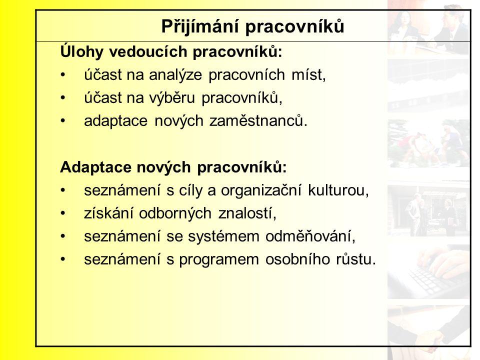 Přijímání pracovníků Úlohy vedoucích pracovníků: