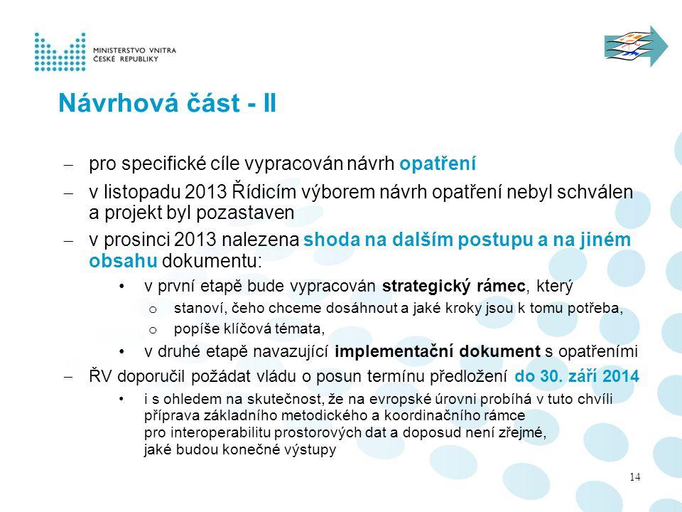 Návrhová část - II pro specifické cíle vypracován návrh opatření