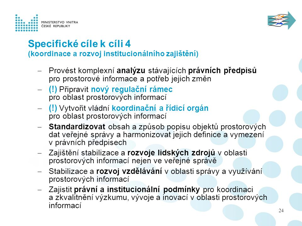 Specifické cíle k cíli 4 (koordinace a rozvoj institucionálního zajištění)