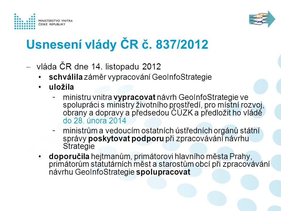 Usnesení vlády ČR č. 837/2012 vláda ČR dne 14. listopadu 2012