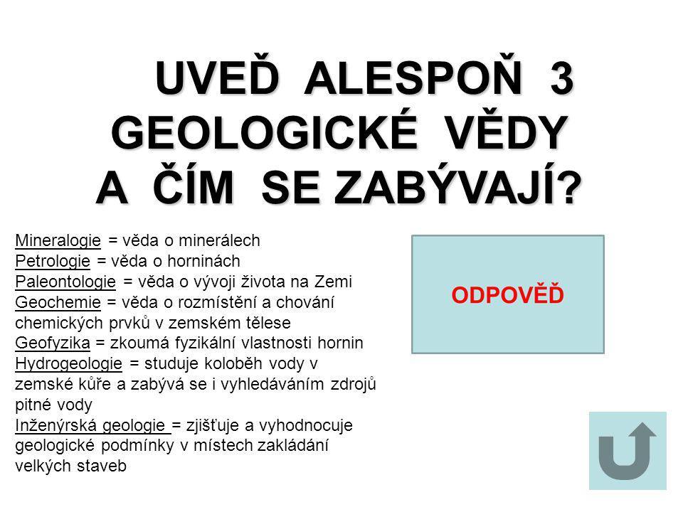 UVEĎ ALESPOŇ 3 GEOLOGICKÉ VĚDY