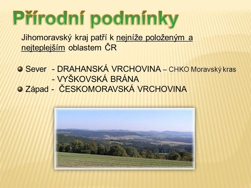 Přírodní podmínky Jihomoravský kraj patří k nejníže položeným a nejteplejším oblastem ČR. Sever - DRAHANSKÁ VRCHOVINA – CHKO Moravský kras.