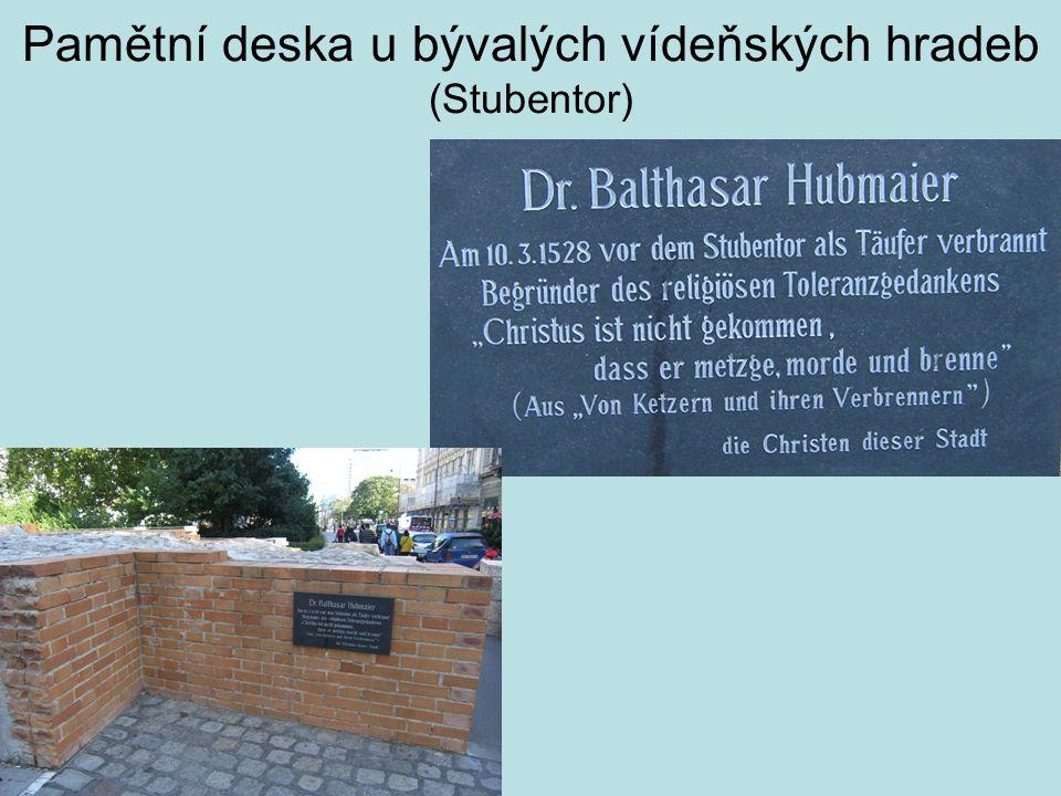 Pamětní deska u bývalých vídeňských hradeb (Stubentor)