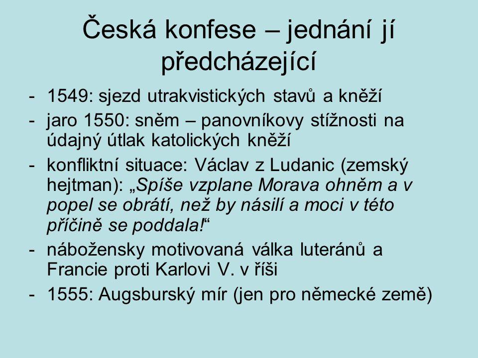 Česká konfese – jednání jí předcházející