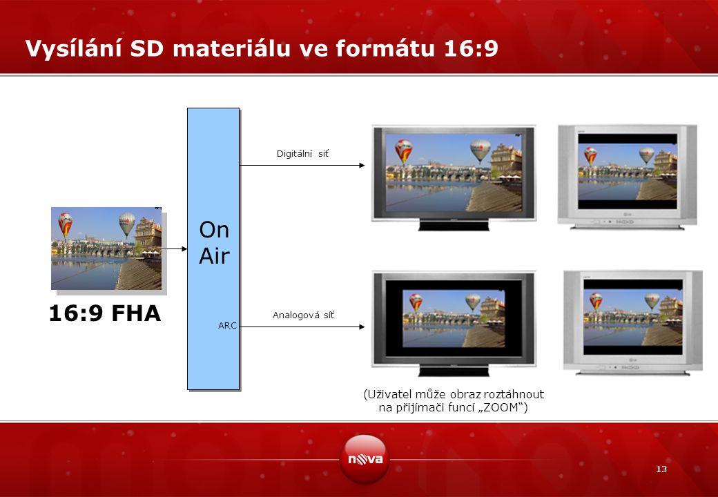 Vysílání SD materiálu ve formátu 16:9