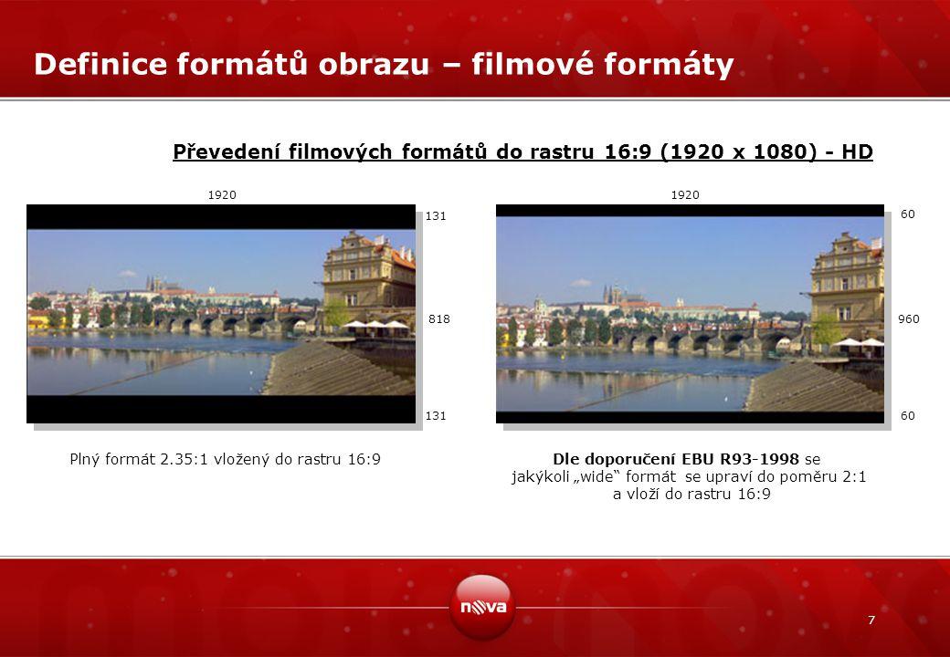 Definice formátů obrazu – filmové formáty
