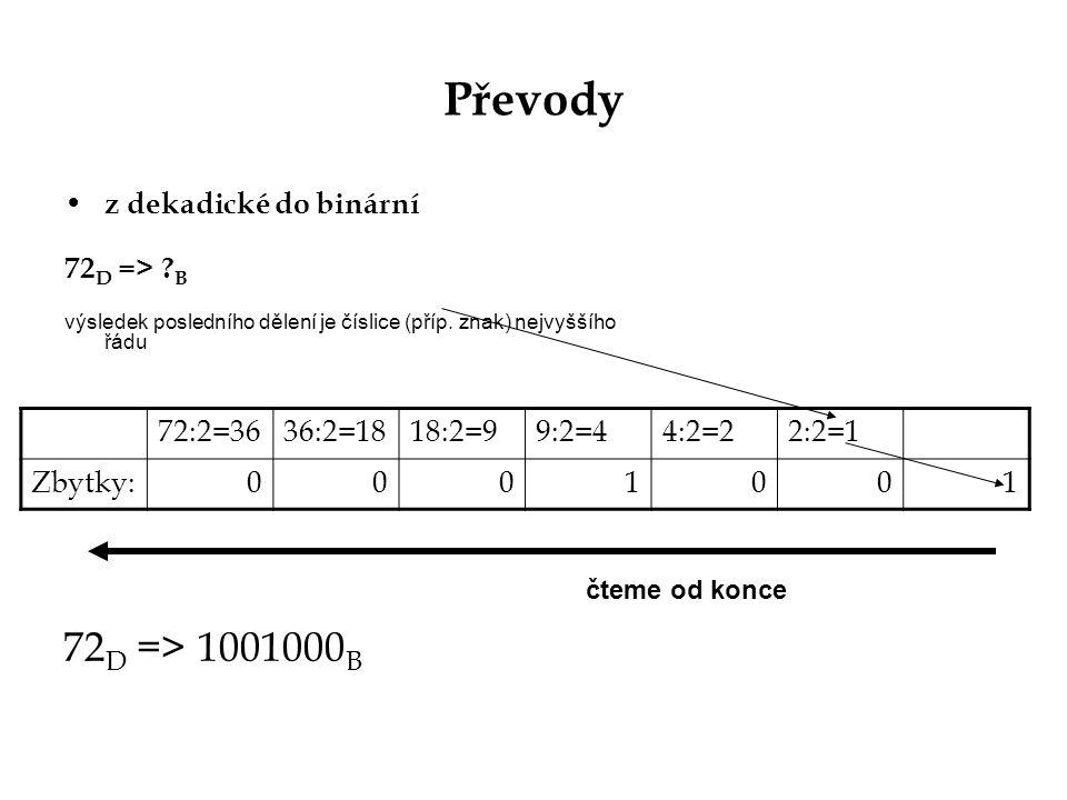 Převody 72D => 1001000B z dekadické do binární 72D => B 72:2=36