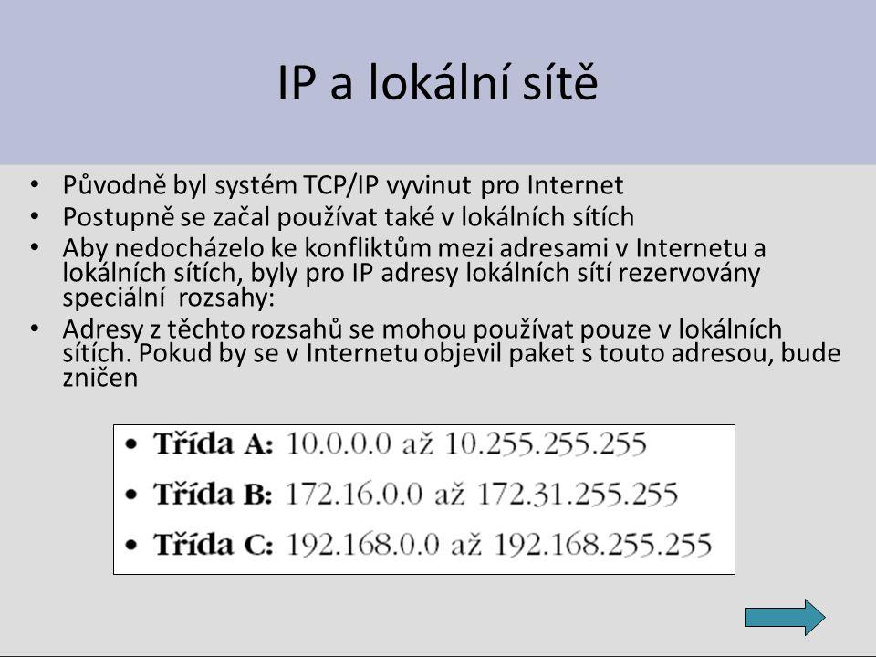 IP a lokální sítě Původně byl systém TCP/IP vyvinut pro Internet