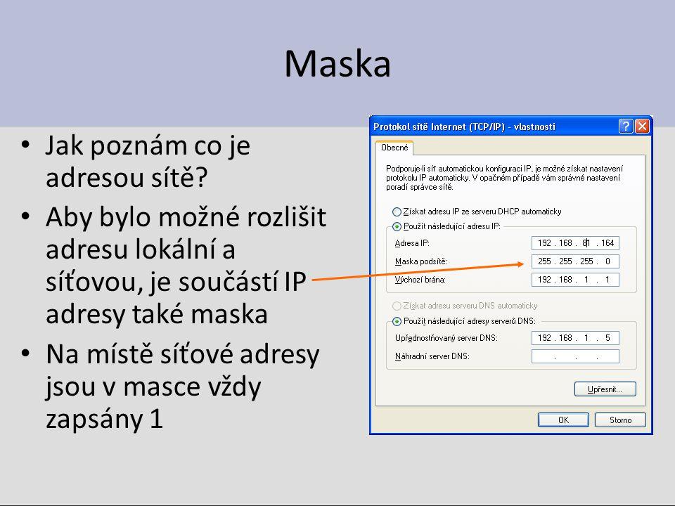 Maska Jak poznám co je adresou sítě