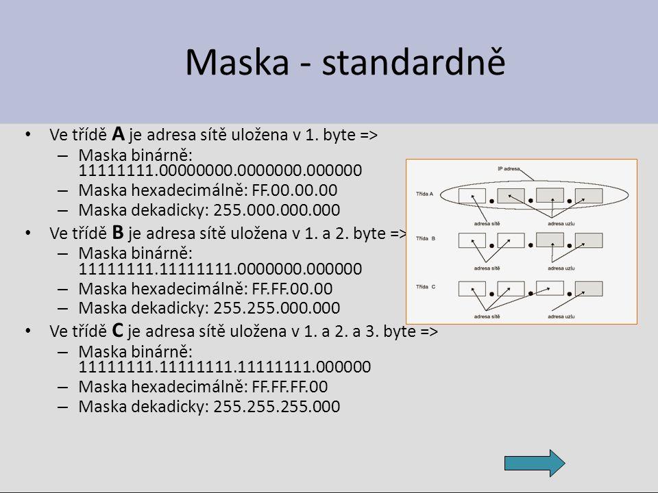 Maska - standardně Ve třídě A je adresa sítě uložena v 1. byte =>