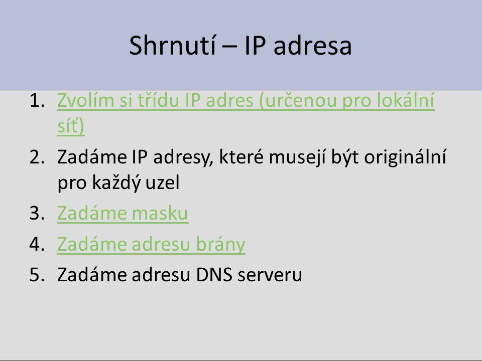 Shrnutí – IP adresa Zvolím si třídu IP adres (určenou pro lokální síť)