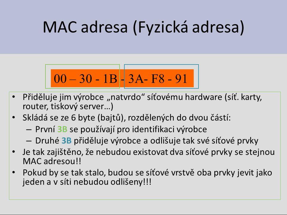 MAC adresa (Fyzická adresa)
