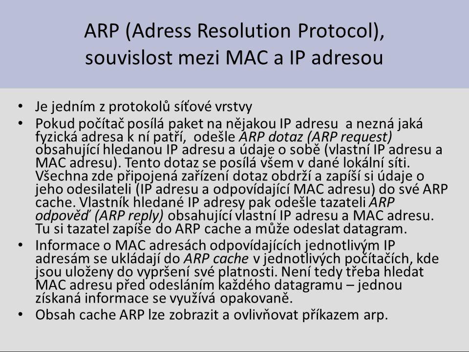 ARP (Adress Resolution Protocol), souvislost mezi MAC a IP adresou